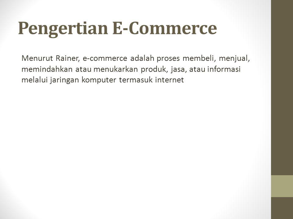 Pengertian E-Commerce Menurut Rainer, e-commerce adalah proses membeli, menjual, memindahkan atau menukarkan produk, jasa, atau informasi melalui jaringan komputer termasuk internet