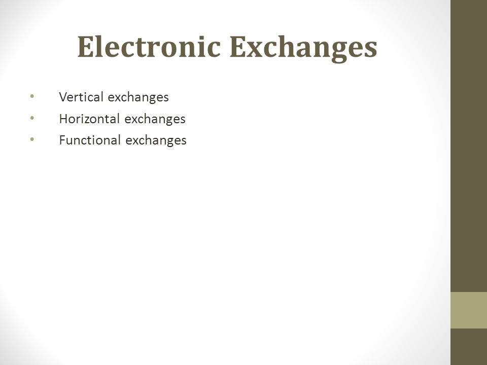 Electronic Exchanges Vertical exchanges Horizontal exchanges Functional exchanges