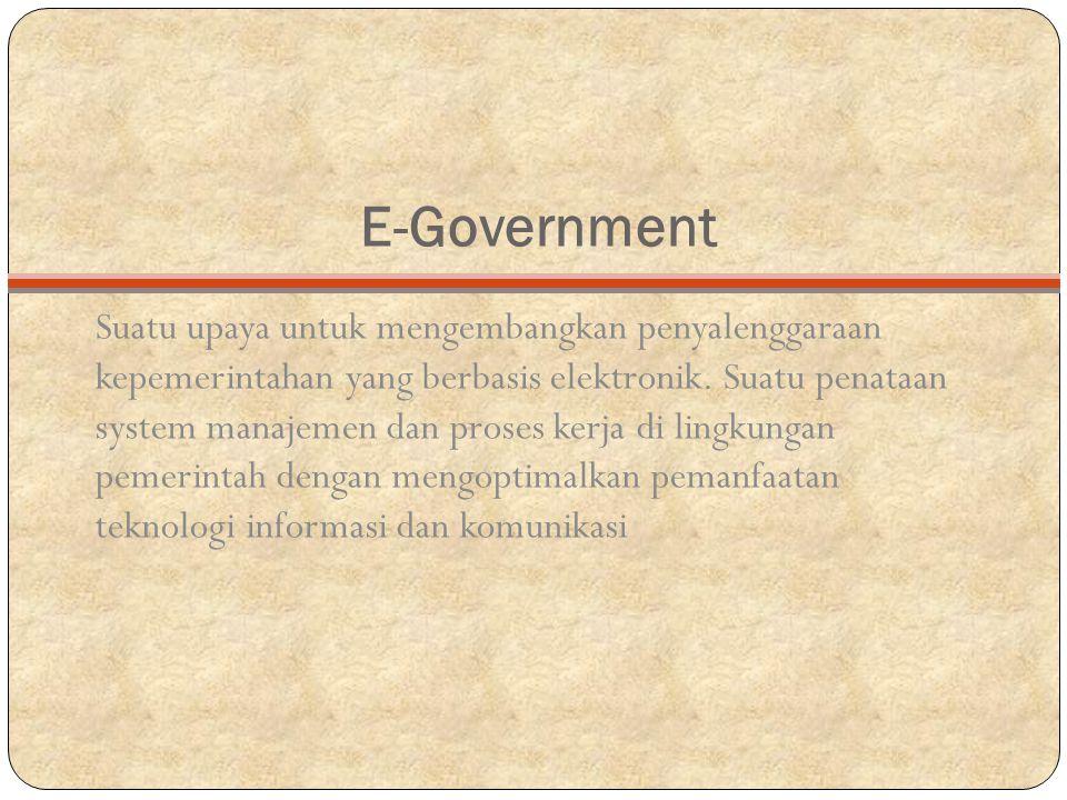 E-Government Suatu upaya untuk mengembangkan penyalenggaraan kepemerintahan yang berbasis elektronik.