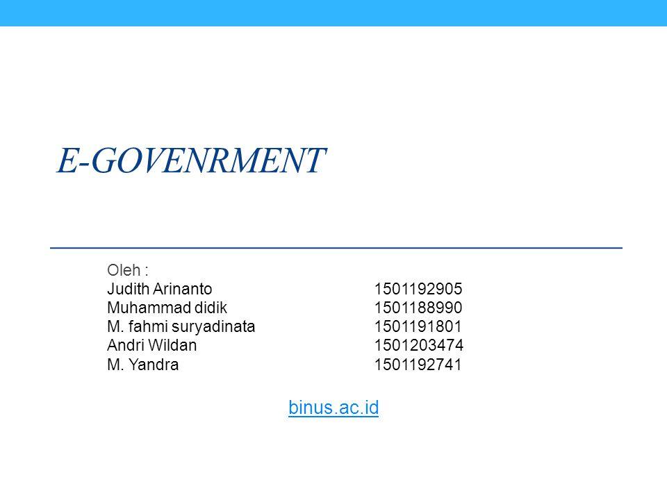 E-GOVENRMENT Oleh : Judith Arinanto1501192905 Muhammad didik1501188990 M. fahmi suryadinata1501191801 Andri Wildan1501203474 M. Yandra1501192741 binus