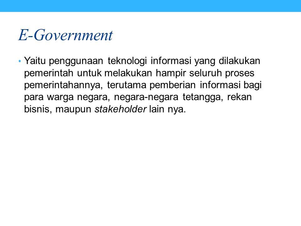 E-Government Yaitu penggunaan teknologi informasi yang dilakukan pemerintah untuk melakukan hampir seluruh proses pemerintahannya, terutama pemberian