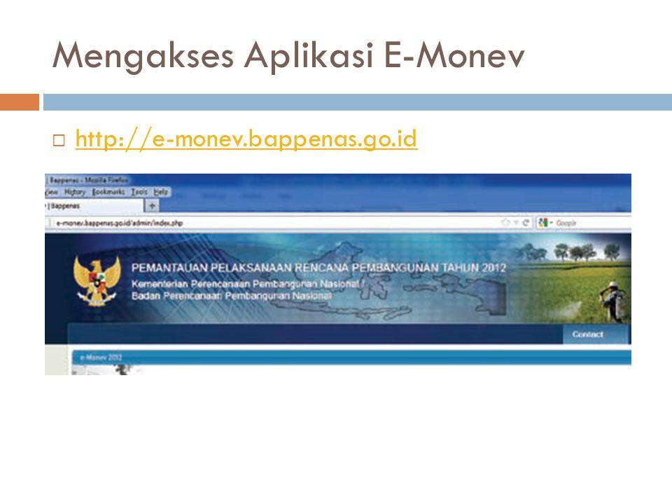 Mengakses Aplikasi E-Monev  http://e-monev.bappenas.go.id http://e-monev.bappenas.go.id