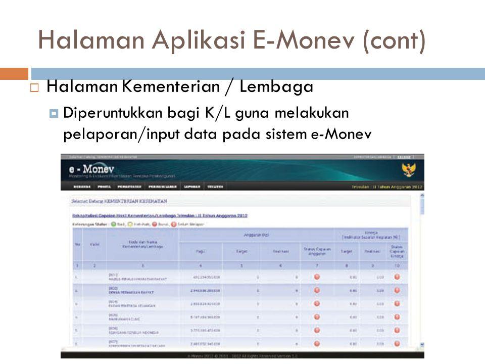 Halaman Kementerian / Lembaga  Diperuntukkan bagi K/L guna melakukan pelaporan/input data pada sistem e-Monev