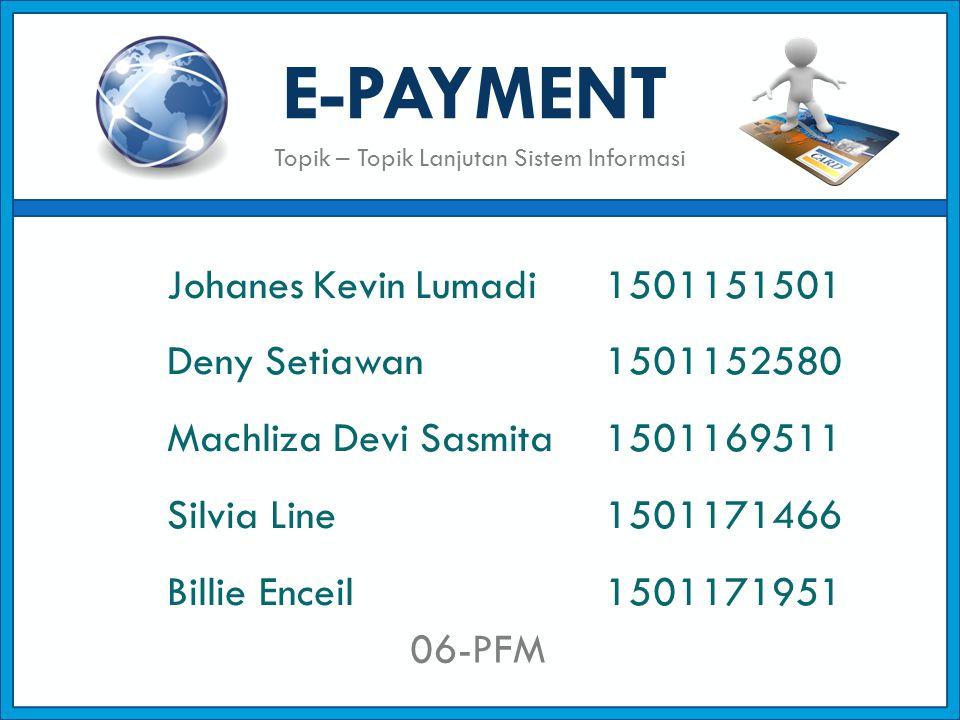 E-PAYMENT Johanes Kevin Lumadi 1501151501 Deny Setiawan1501152580 Machliza Devi Sasmita 1501169511 Silvia Line1501171466 Billie Enceil1501171951 06-PF