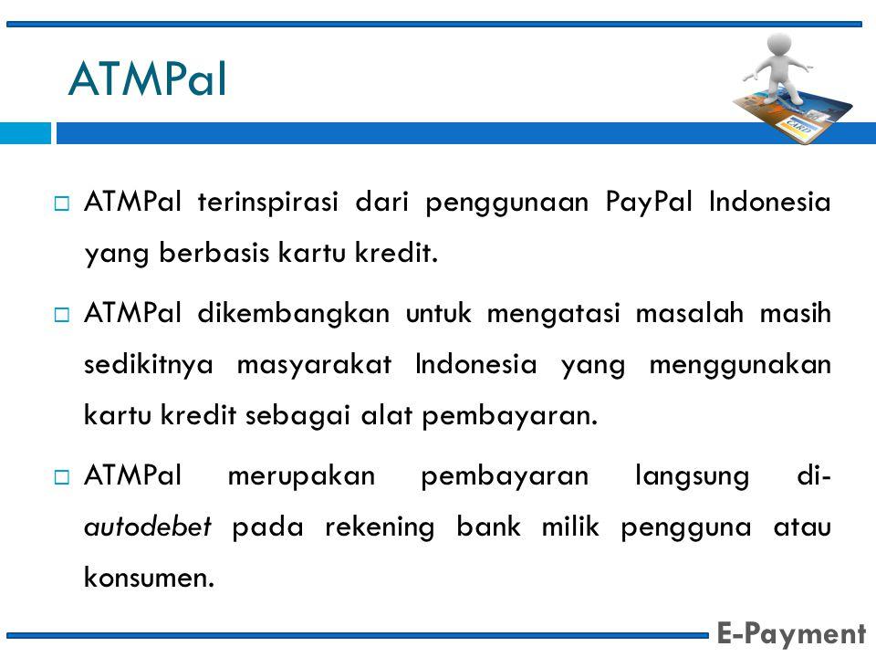 ATMPal  ATMPal terinspirasi dari penggunaan PayPal Indonesia yang berbasis kartu kredit.  ATMPal dikembangkan untuk mengatasi masalah masih sedikitn