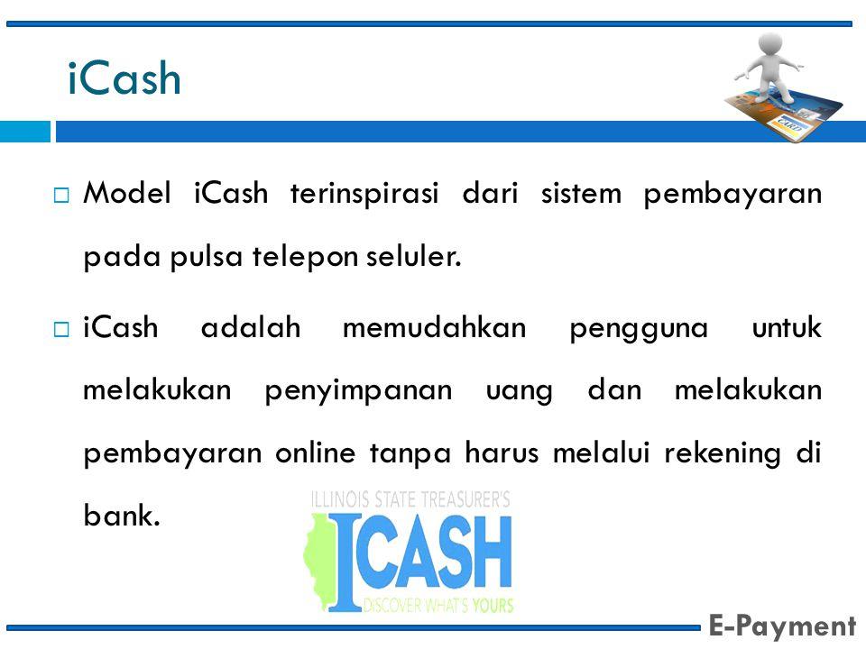 iCash  Model iCash terinspirasi dari sistem pembayaran pada pulsa telepon seluler.  iCash adalah memudahkan pengguna untuk melakukan penyimpanan uan