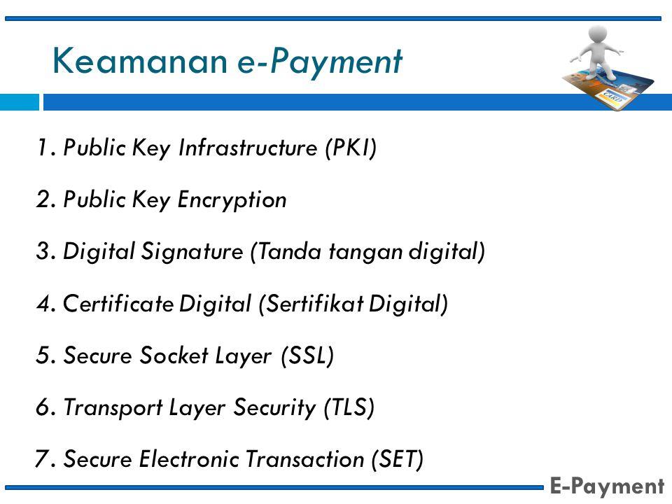 Keamanan e-Payment 1. Public Key Infrastructure (PKI) 2. Public Key Encryption 3. Digital Signature (Tanda tangan digital) 4. Certificate Digital (Ser