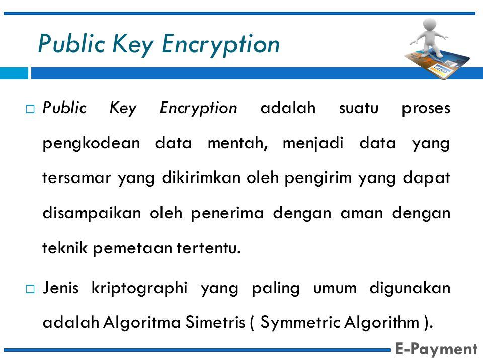 Public Key Encryption  Public Key Encryption adalah suatu proses pengkodean data mentah, menjadi data yang tersamar yang dikirimkan oleh pengirim yan