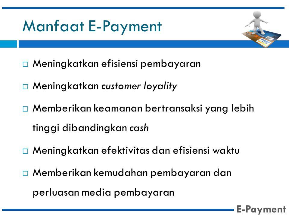 Manfaat E-Payment  Meningkatkan efisiensi pembayaran  Meningkatkan customer loyality  Memberikan keamanan bertransaksi yang lebih tinggi dibandingk