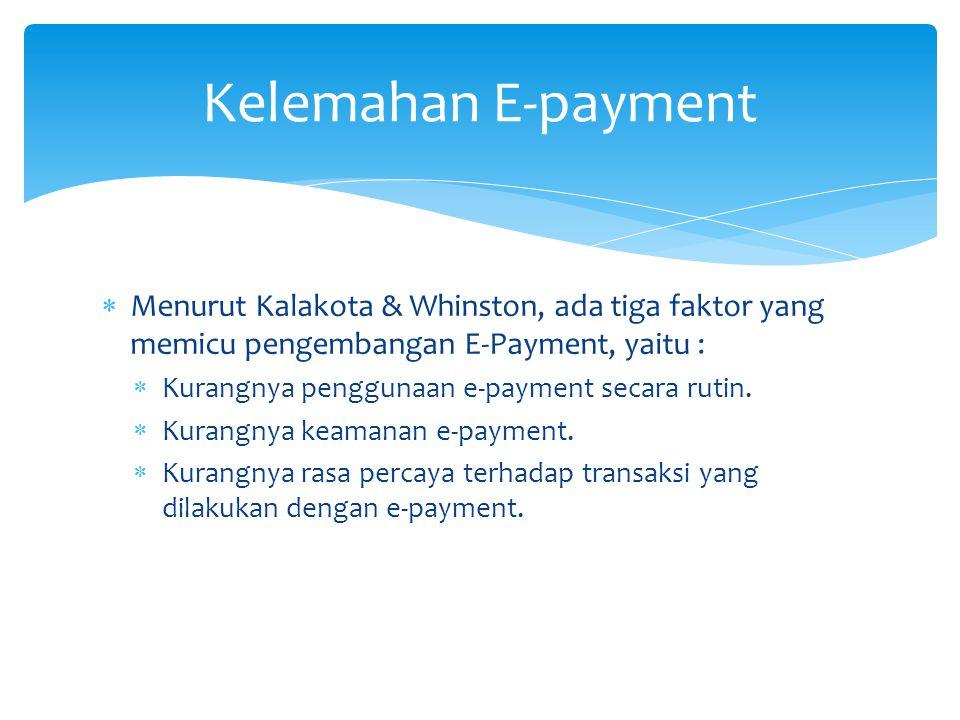  Menurut Kalakota & Whinston, ada tiga faktor yang memicu pengembangan E-Payment, yaitu :  Kurangnya penggunaan e-payment secara rutin.