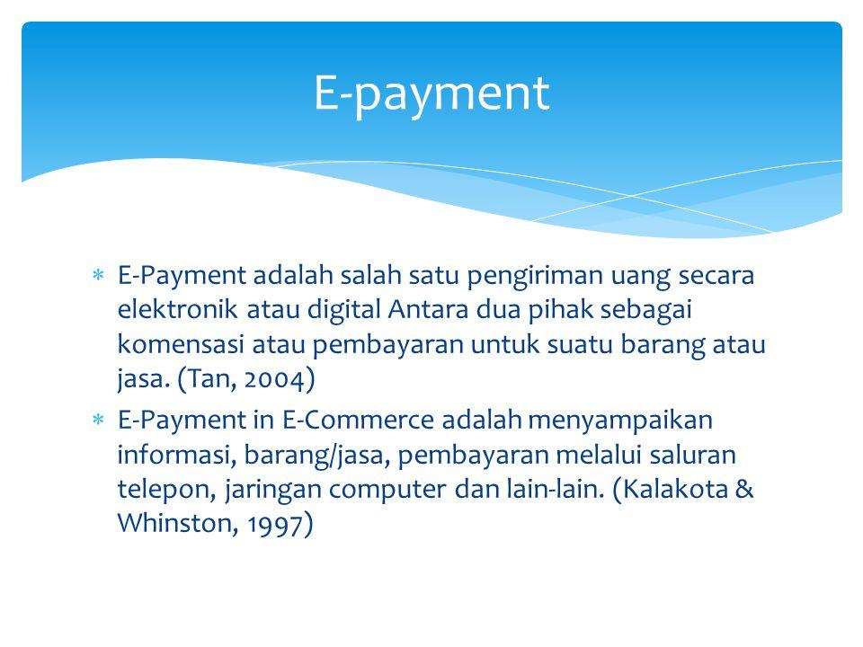  E-Payment adalah salah satu pengiriman uang secara elektronik atau digital Antara dua pihak sebagai komensasi atau pembayaran untuk suatu barang atau jasa.