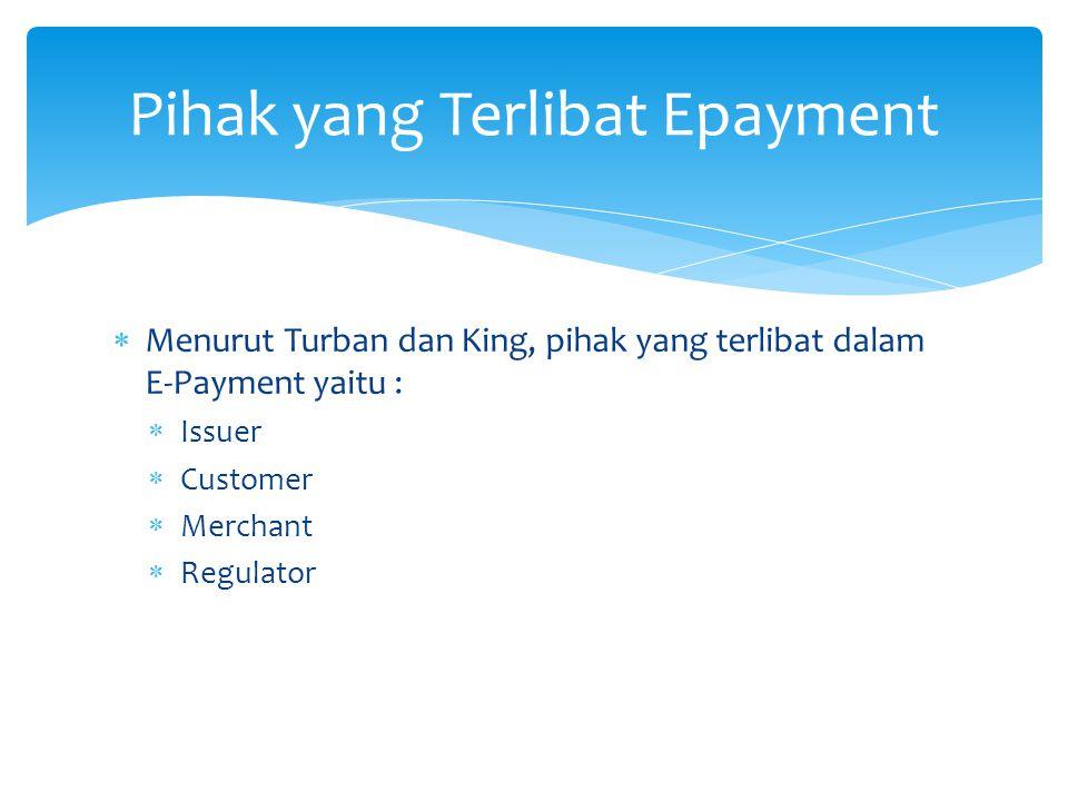  Menurut Turban dan King, pihak yang terlibat dalam E-Payment yaitu :  Issuer  Customer  Merchant  Regulator Pihak yang Terlibat Epayment