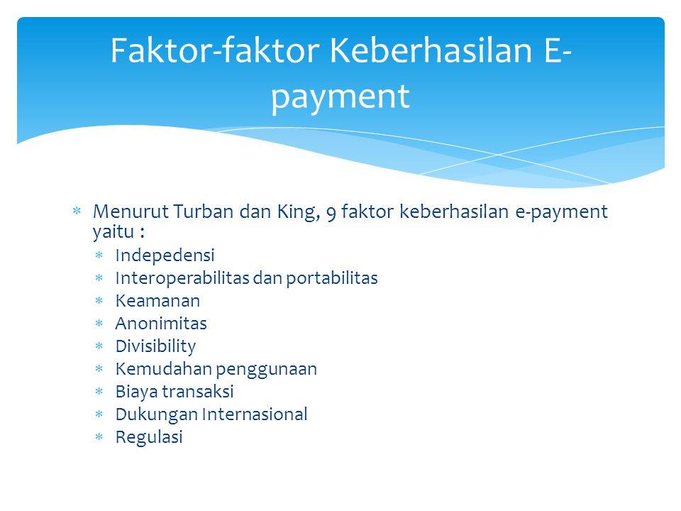  Menurut Turban dan King, 9 faktor keberhasilan e-payment yaitu :  Indepedensi  Interoperabilitas dan portabilitas  Keamanan  Anonimitas  Divisibility  Kemudahan penggunaan  Biaya transaksi  Dukungan Internasional  Regulasi Faktor-faktor Keberhasilan E- payment