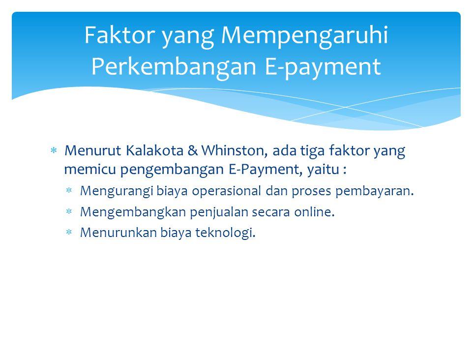  Menurut Kalakota & Whinston, ada tiga faktor yang memicu pengembangan E-Payment, yaitu :  Mengurangi biaya operasional dan proses pembayaran.