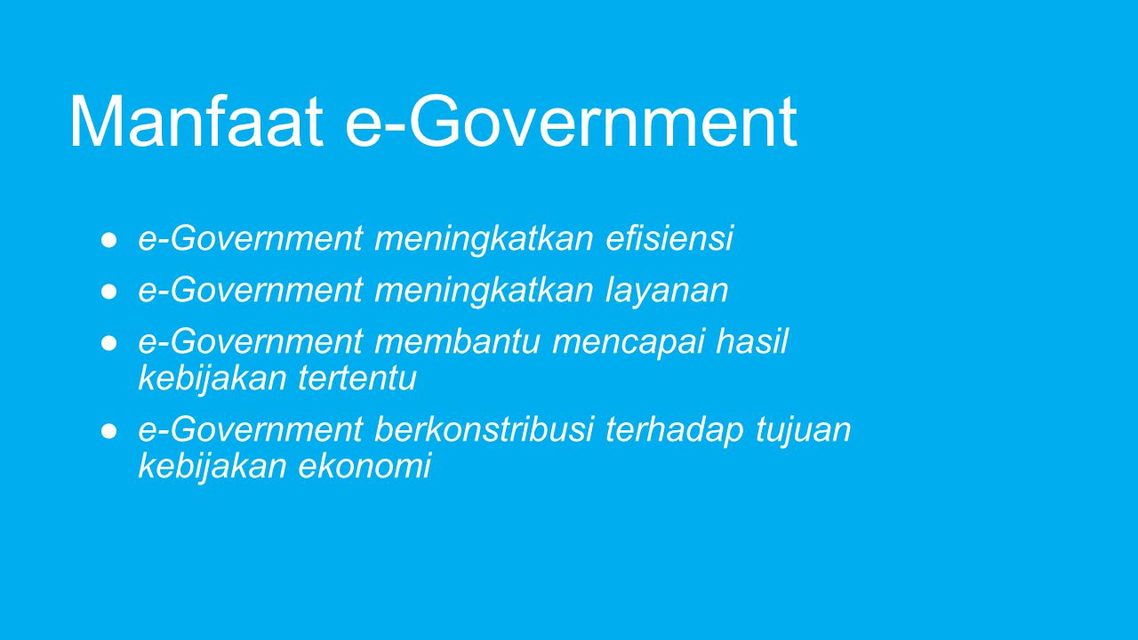 E - Government di Singapura Government 1.Ministries 2.Law / UUD 3.Public Services Number Citizens & Residents 1.Taxes 2.Community & Services 3.Child Care 4.FeedBack & Daily Informations 5.M-Government - SMS (Government With You) Business & Non-Resident 1.Business License 2.Signed Corporate Informations 3.Work in Singapore/ Study in Singapore/ Vacation in Singapore