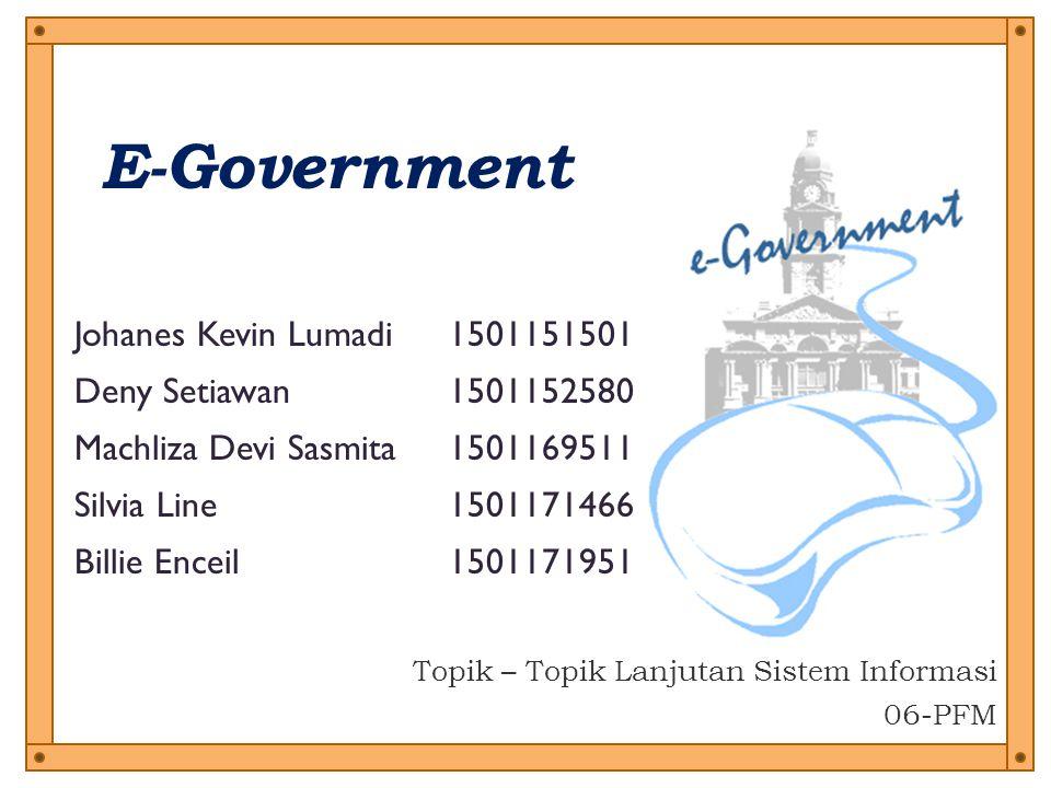 e-Government di Indonesia Di lihat dari pelaksanaan aplikasi e-government, data dari Depkominfo (2005) menunjukkan bahwa hingga akhir tahun 2005 lalu Indonesia memiliki :  564 domain go.id  295 situs pemerintah pusat dan pemda  226 situs telah mulai memberikan layanan publik melalui website  198 situs pemda masih dikelola secara aktif.