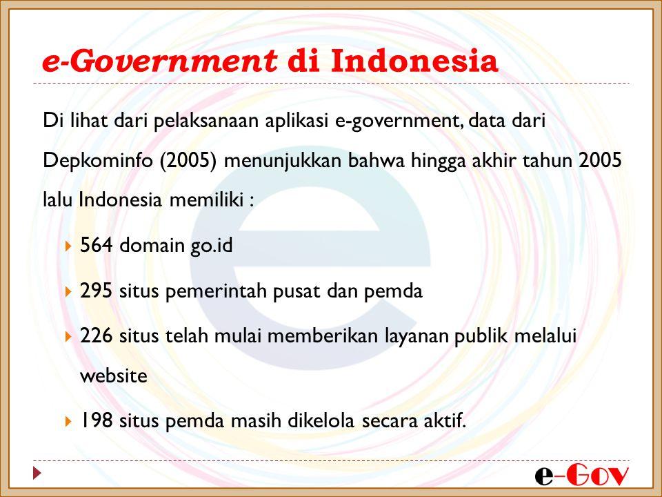 e-Government di Indonesia Di lihat dari pelaksanaan aplikasi e-government, data dari Depkominfo (2005) menunjukkan bahwa hingga akhir tahun 2005 lalu