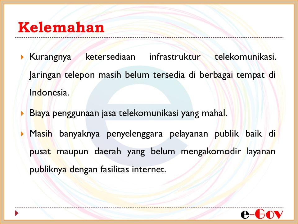 Kelemahan  Kurangnya ketersediaan infrastruktur telekomunikasi. Jaringan telepon masih belum tersedia di berbagai tempat di Indonesia.  Biaya penggu