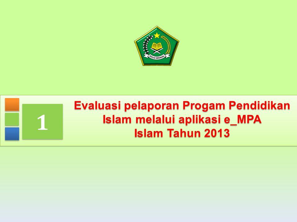 3 Evaluasi pelaporan Progam Pendidikan Islam melalui aplikasi e_MPA Islam Tahun 2013 1 1