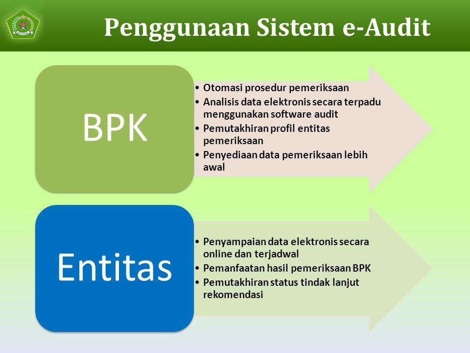 Penggunaan Sistem e-Audit Otomasi prosedur pemeriksaan Analisis data elektronis secara terpadu menggunakan software audit Pemutakhiran profil entitas