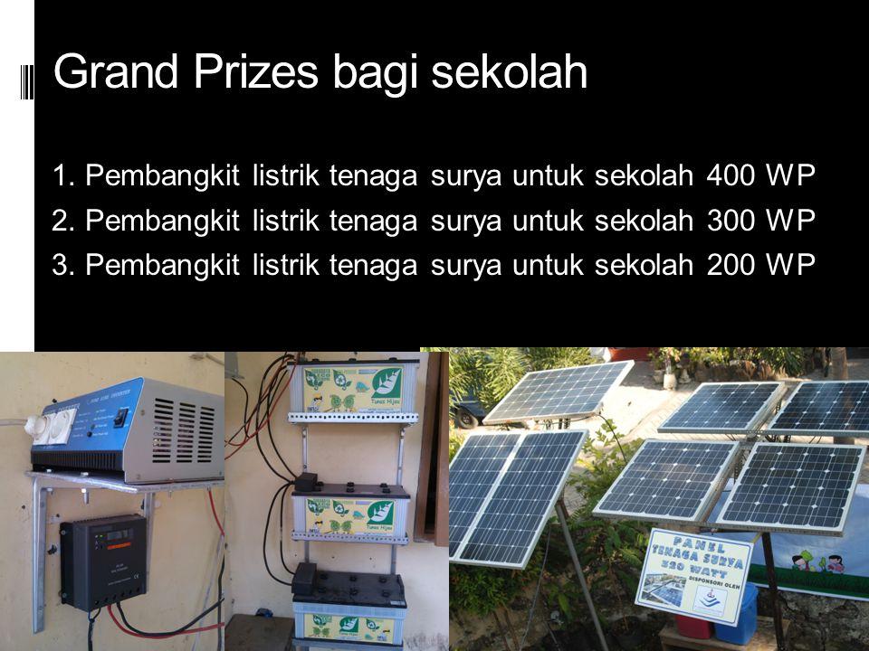 Grand Prizes bagi sekolah 1. Pembangkit listrik tenaga surya untuk sekolah 400 WP 2. Pembangkit listrik tenaga surya untuk sekolah 300 WP 3. Pembangki