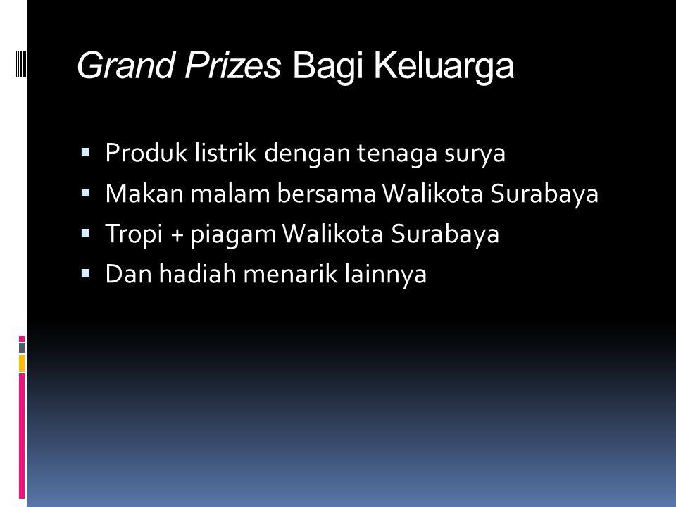Grand Prizes Bagi Keluarga  Produk listrik dengan tenaga surya  Makan malam bersama Walikota Surabaya  Tropi + piagam Walikota Surabaya  Dan hadiah menarik lainnya