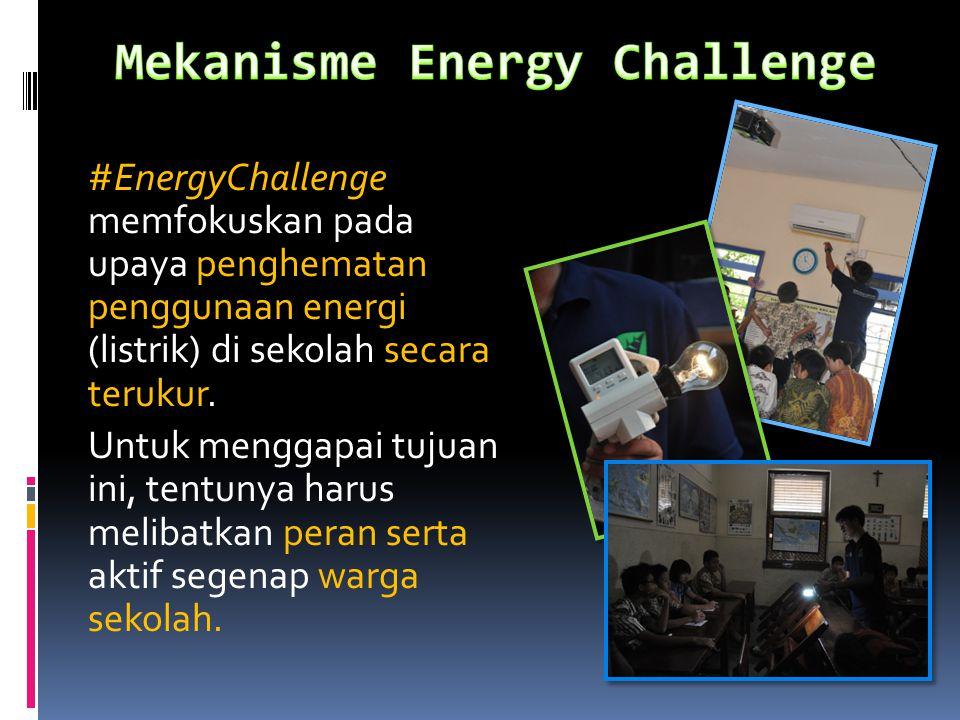 #EnergyChallenge memfokuskan pada upaya penghematan penggunaan energi (listrik) di sekolah secara terukur. Untuk menggapai tujuan ini, tentunya harus