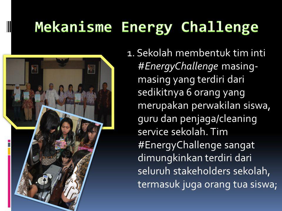 1. Sekolah membentuk tim inti #EnergyChallenge masing- masing yang terdiri dari sedikitnya 6 orang yang merupakan perwakilan siswa, guru dan penjaga/c