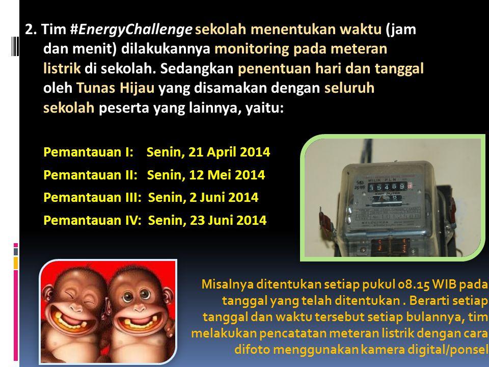 2. Tim #EnergyChallenge sekolah menentukan waktu (jam dan menit) dilakukannya monitoring pada meteran listrik di sekolah. Sedangkan penentuan hari dan