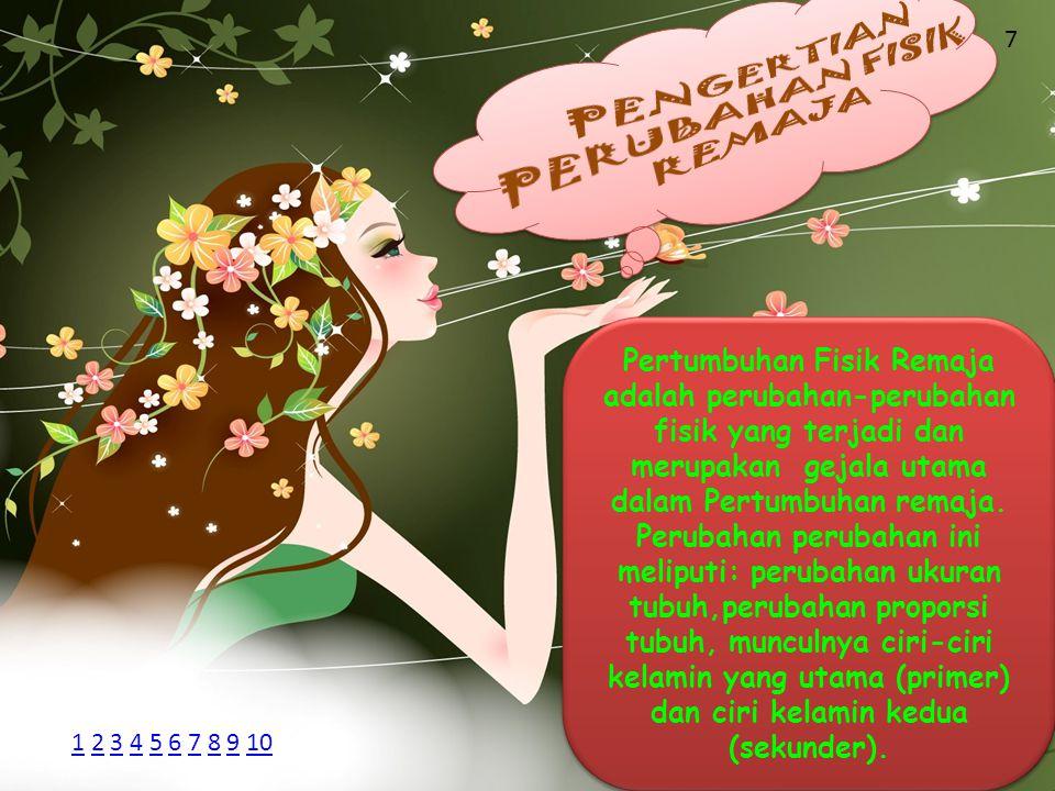 Pertumbuhan Fisik Remaja adalah perubahan-perubahan fisik yang terjadi dan merupakan gejala utama dalam Pertumbuhan remaja. Perubahan perubahan ini me