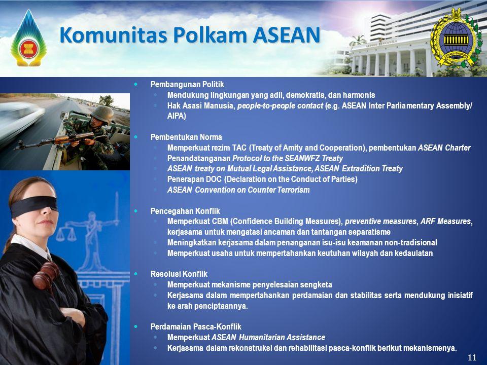 Pembangunan Politik Mendukung lingkungan yang adil, demokratis, dan harmonis Hak Asasi Manusia, people-to-people contact (e.g. ASEAN Inter Parliamenta