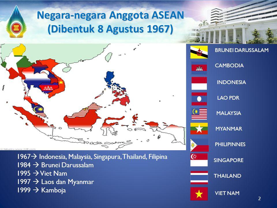 1967  Indonesia, Malaysia, Singapura, Thailand, Filipina 1984  Brunei Darussalam 1995  Viet Nam 1997  Laos dan Myanmar 1999  Kamboja INDONESIA TH