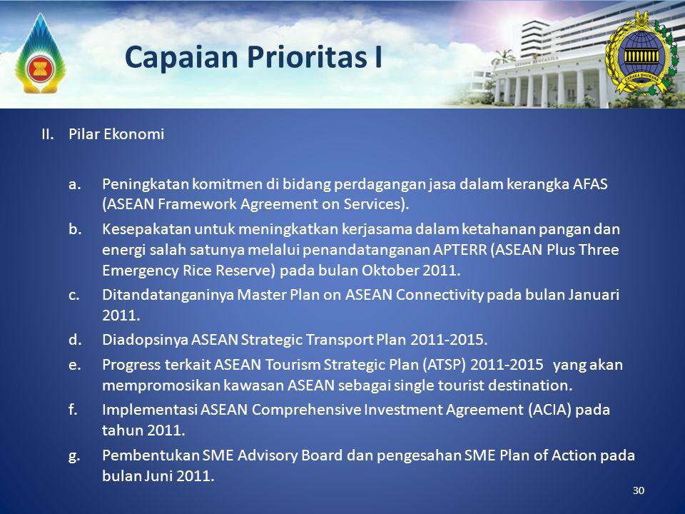 II. Pilar Ekonomi a.Peningkatan komitmen di bidang perdagangan jasa dalam kerangka AFAS (ASEAN Framework Agreement on Services). b.Kesepakatan untuk m