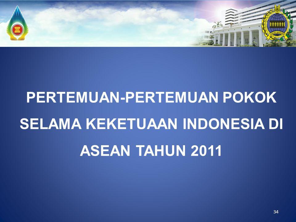 34 PERTEMUAN-PERTEMUAN POKOK SELAMA KEKETUAAN INDONESIA DI ASEAN TAHUN 2011