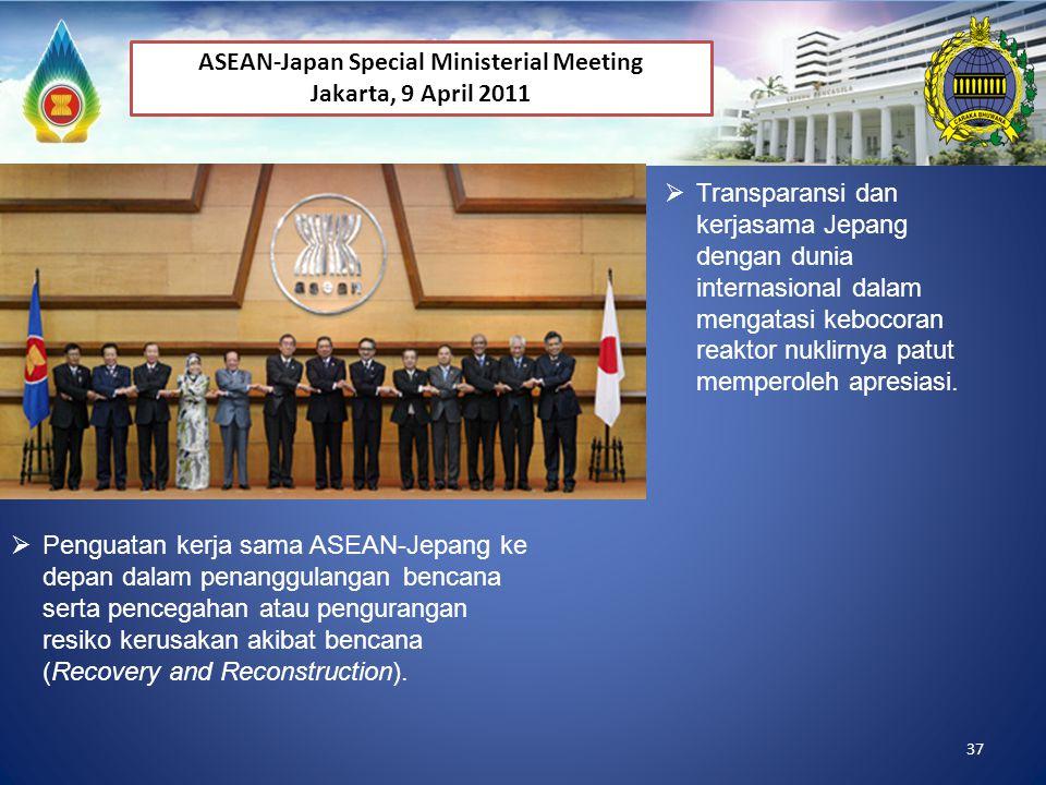 37  Penguatan kerja sama ASEAN-Jepang ke depan dalam penanggulangan bencana serta pencegahan atau pengurangan resiko kerusakan akibat bencana (Recove