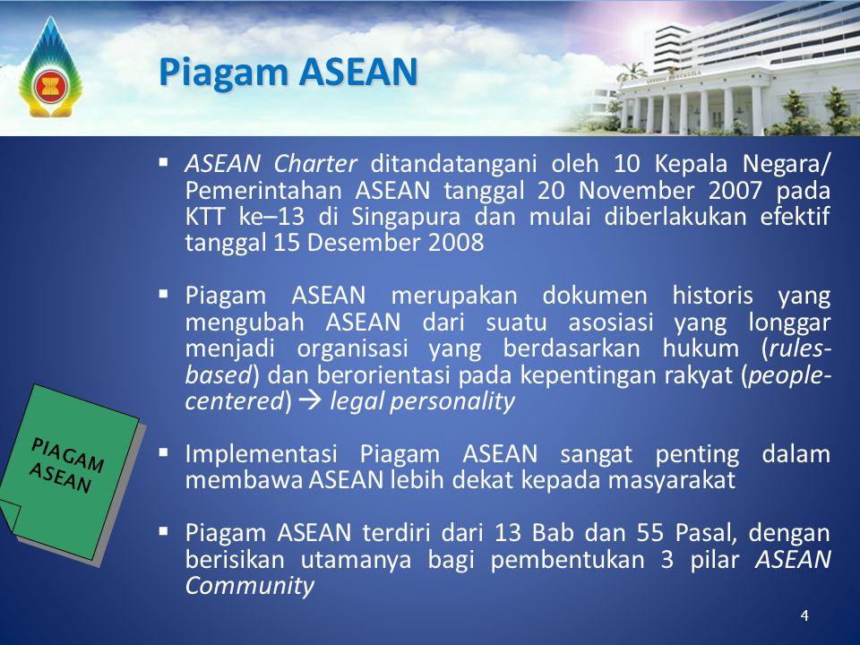 4  ASEAN Charter ditandatangani oleh 10 Kepala Negara/ Pemerintahan ASEAN tanggal 20 November 2007 pada KTT ke–13 di Singapura dan mulai diberlakukan