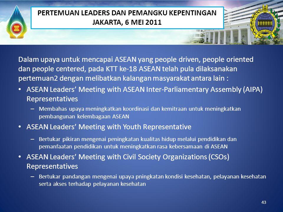 43 Dalam upaya untuk mencapai ASEAN yang people driven, people oriented dan people centered, pada KTT ke-18 ASEAN telah pula dilaksanakan pertemuan2 d