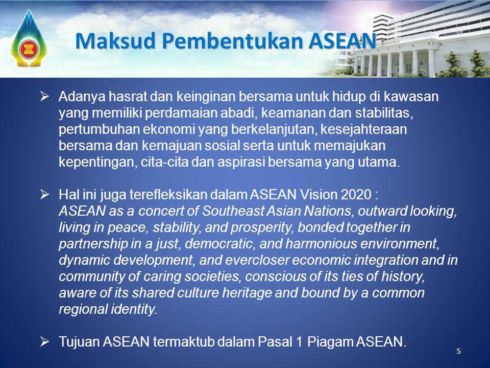 5 Maksud Pembentukan ASEAN  Adanya hasrat dan keinginan bersama untuk hidup di kawasan yang memiliki perdamaian abadi, keamanan dan stabilitas, pertu