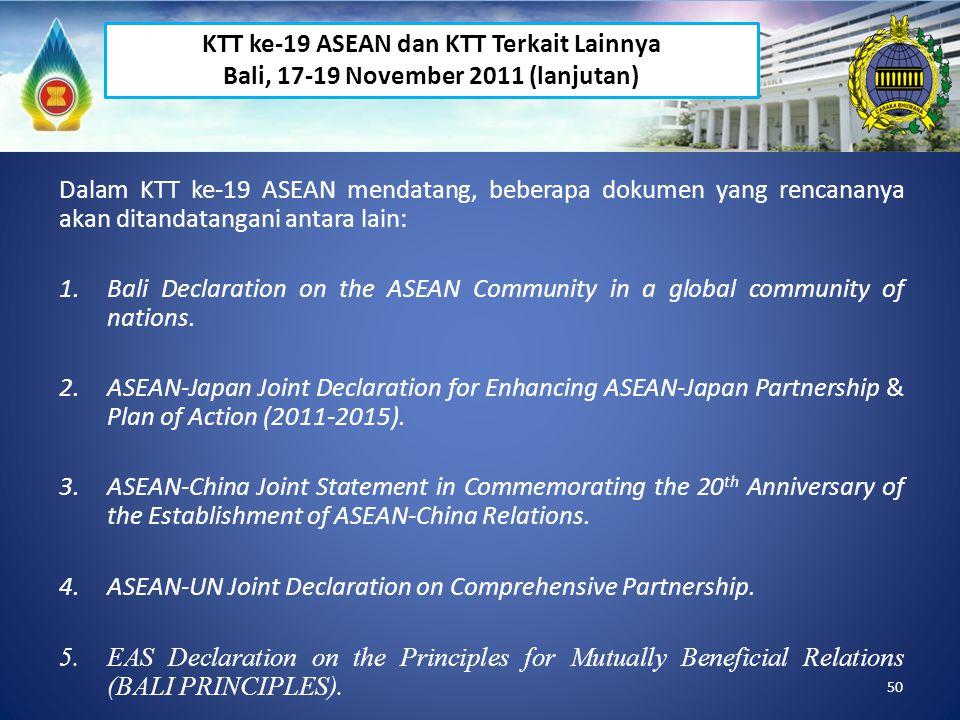 50 Dalam KTT ke-19 ASEAN mendatang, beberapa dokumen yang rencananya akan ditandatangani antara lain: 1.Bali Declaration on the ASEAN Community in a g