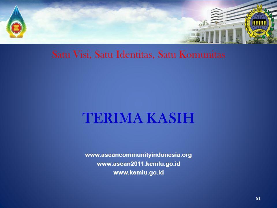 51 Satu Visi, Satu Identitas, Satu Komunitas TERIMA KASIH www.aseancommunityindonesia.org www.asean2011.kemlu.go.id www.kemlu.go.id
