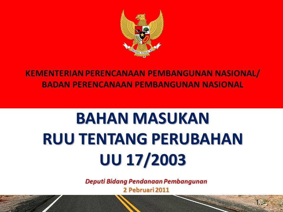 BAPPENAS UU 25/2004 SISTEM PERENCANAAN PEMBANGUNAN NASIONAL 2 Pasal 4 Ayat 1 RPJP Nasional merupakan penjabaran dari tujuan dibentuknya pernerintahan Negara Indonesia yang tercanturn dalarn Pembukaan Undang-Undang Dasar Negara Republik Indonesia Tahun 1945, dalam bentuk visi, misi, dan arah pernbangunan Nasional.