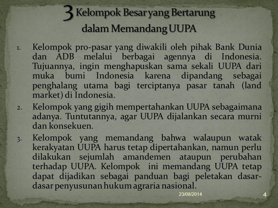 1. Kelompok pro-pasar yang diwakili oleh pihak Bank Dunia dan ADB melalui berbagai agennya di Indonesia. Tujuannya, ingin menghapuskan sama sekali UUP