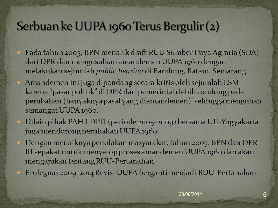 Pada tahun 2005, BPN menarik draft RUU Sumber Daya Agraria (SDA) dari DPR dan mengusulkan amandemen UUPA 1960 dengan melakukan sejumlah public hearing