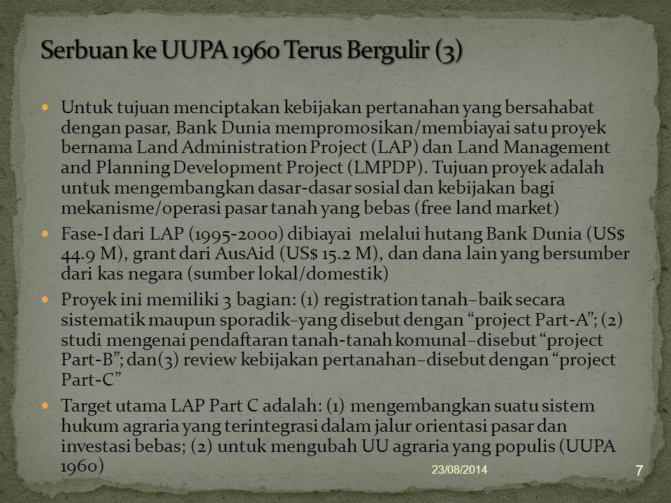 UUPA 1960 memiliki masalah-masalah yang mendasar, yang tidak diselesaikan, yang berimplikasi pada sejumlah pertanyaan serius mengenai relevansinya dengan situasi modern.