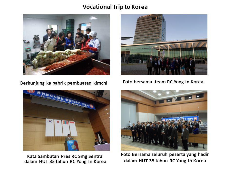 Vocational Trip to Korea Berkunjung ke pabrik pembuatan kimchi Kata Sambutan Pres RC Smg Sentral dalam HUT 35 tahun RC Yong In Korea Foto bersama team
