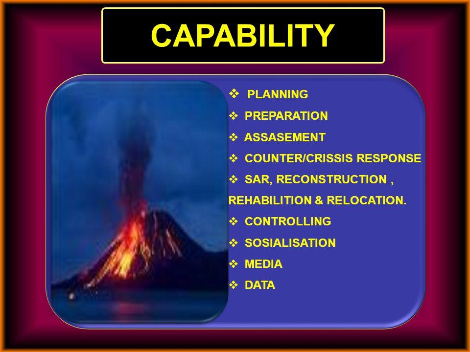 CAPABILITY  PLANNING  PREPARATION  ASSASEMENT  COUNTER/CRISSIS RESPONSE  SAR, RECONSTRUCTION, REHABILITION & RELOCATION.  CONTROLLING  SOSIALIS