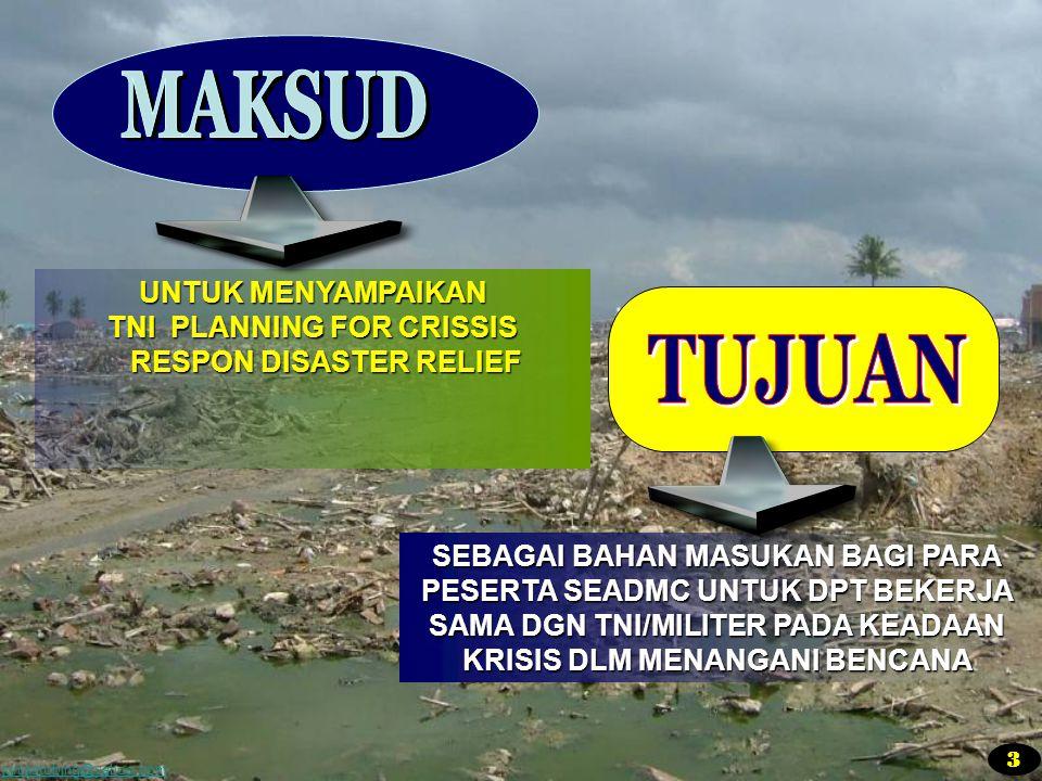 juniastobing@yahoo.com SEBAGAI BAHAN MASUKAN BAGI PARA PESERTA SEADMC UNTUK DPT BEKERJA SAMA DGN TNI/MILITER PADA KEADAAN KRISIS DLM MENANGANI BENCANA