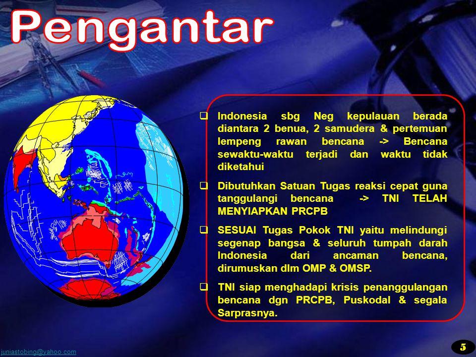 juniastobing@yahoo.com  Indonesia sbg Neg kepulauan berada diantara 2 benua, 2 samudera & pertemuan lempeng rawan bencana -> Bencana sewaktu-waktu te