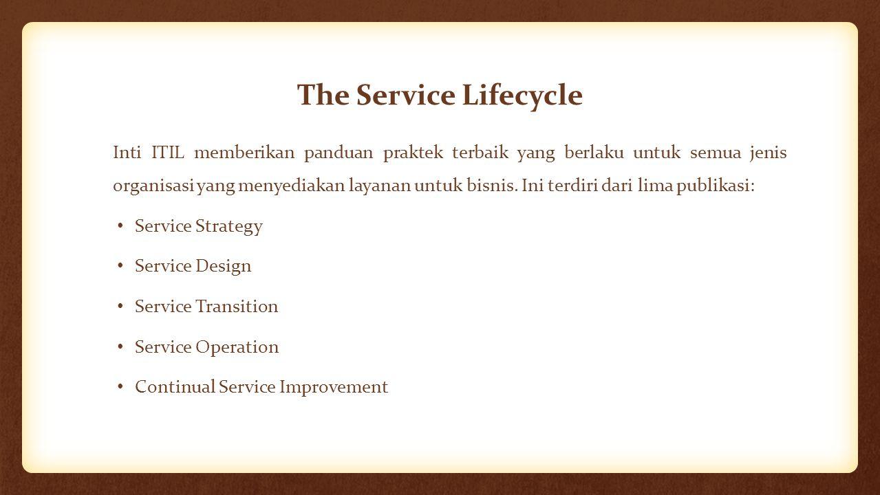 The Service Lifecycle Inti ITIL memberikan panduan praktek terbaik yang berlaku untuk semua jenis organisasi yang menyediakan layanan untuk bisnis. In