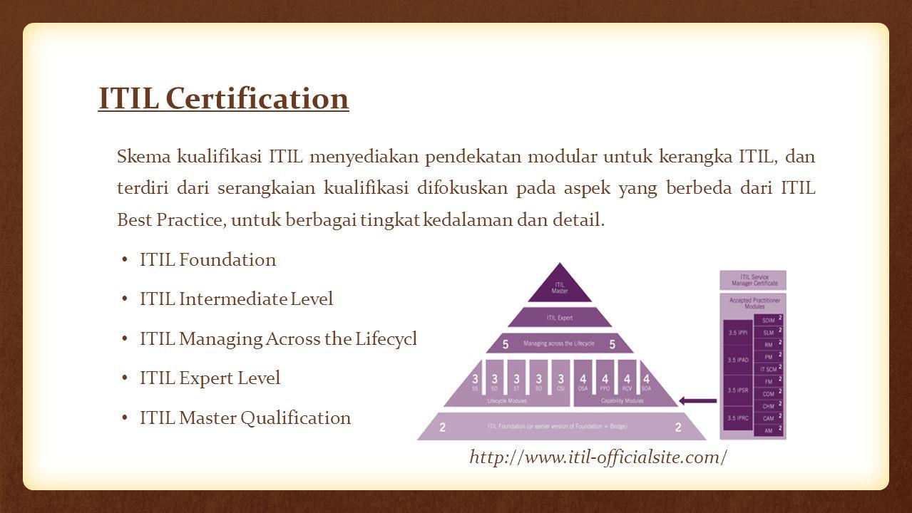ITIL Certification Skema kualifikasi ITIL menyediakan pendekatan modular untuk kerangka ITIL, dan terdiri dari serangkaian kualifikasi difokuskan pada